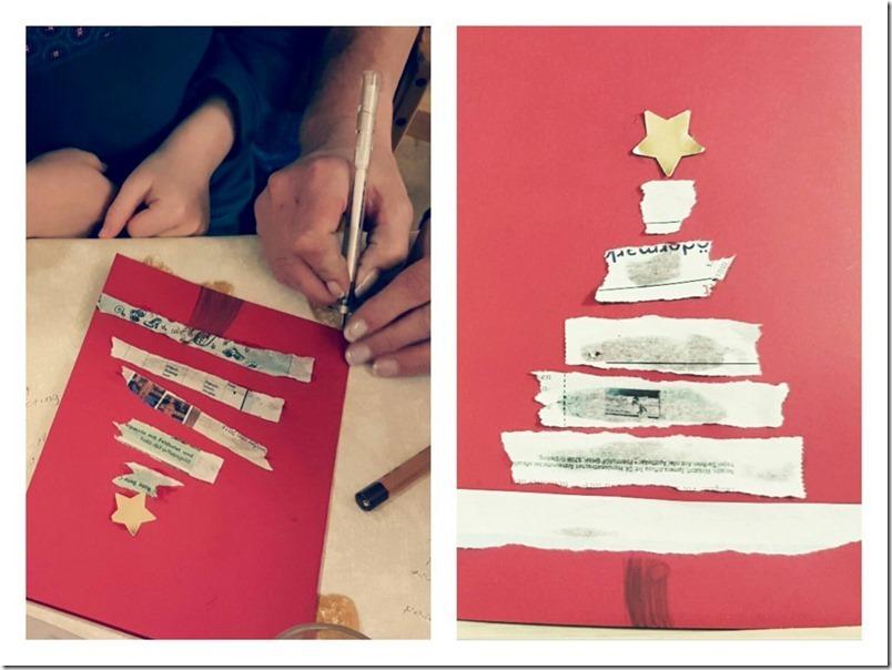 Weihnachtskarte basteln mit Kindern einfach