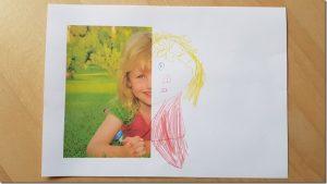 Malen mit Kindern: Halbes Foto fertig malen