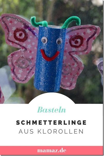Schmetterlinge basteln aus Klorollen