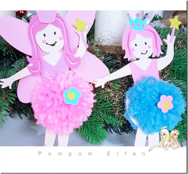 Basteln mit Pompoms - die kleinen Engel sind eine schöne Weihnachtsdeko für Wohnzimmer oder den Weihnachtsbaum